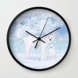 polar bears in the snow Wall Clock