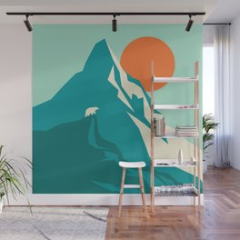 As the sun rises over the peak Wall Mural