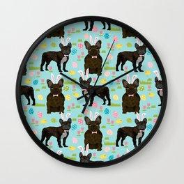 French Bulldog brindle coat easter spring dog costume custom pet portraits Wall Clock