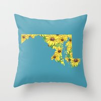 maryland Throw Pillows featuring Maryland in Flowers by Ursula Rodgers