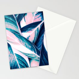 Botanical leaf pink and blue Stationery Cards