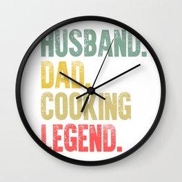 Funny Men Vintage T Shirt Husband Dad Cooking Legend Retro Wall Clock