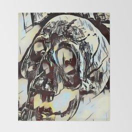 Metal Paper Skull Throw Blanket