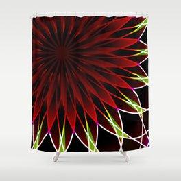 Neon flower mandala Shower Curtain