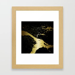 GRUNGE SPLASH | black gold Framed Art Print
