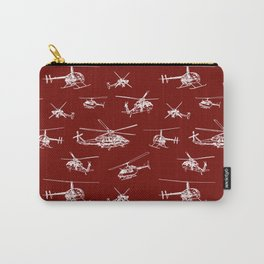 Helicopters on Maroon Carry-All Pouch