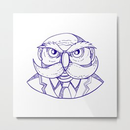 Angry Owl Man Mustache Doodle Metal Print