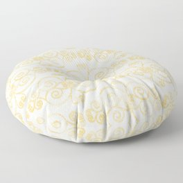 Farmhouse Scoll Diamond Ikat Pattern - White Golden Yellow Floor Pillow