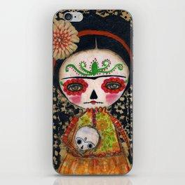 Frida The Catrina And The Skull - Dia De Los Muertos Mixed Media Art iPhone Skin