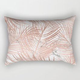 Tropical modern faux rose gold palm tree leaf white marble pattern Rectangular Pillow