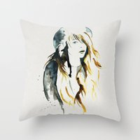 belle Throw Pillows featuring Belle by ne11amae