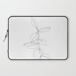 One line minimal plant leaves drawing - Berry Laptop Sleeve