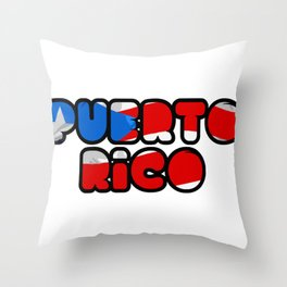 Puerto Rico Font with Puerto Rican Flag Throw Pillow