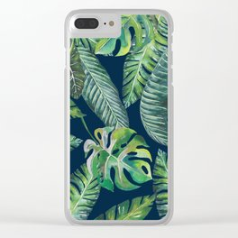 Jungle Leaves, Banana, Monstera, Blue Clear iPhone Case