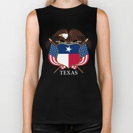 Texas flag and eagle crest - original design by BruceStanfieldArtist Biker Tank