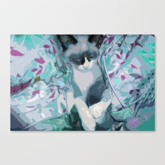 Nestled Kitten in Comforter Cloud Canvas Print