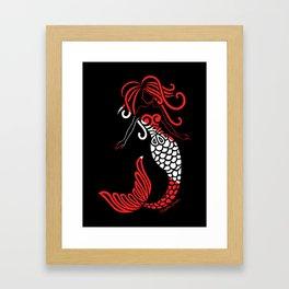 Tribal Scuba Flag Mermaid Framed Art Print