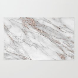pink rose gold blush metallic glitter foil on grey marble rug
