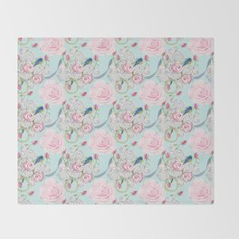 Bluebirds and Shabby Chic Roses on Paris Blue Throw Blanket