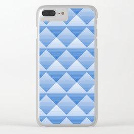 Blue Retro Argyle Clear iPhone Case
