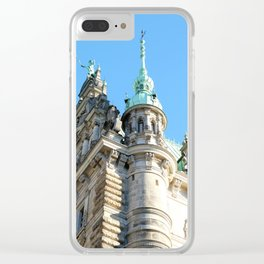 Low angle view of Town Hall in Hamburg Clear iPhone Case