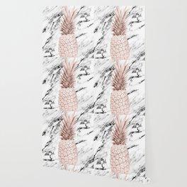 Pineapple Rose Gold Marble Wallpaper