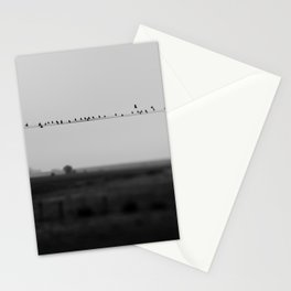 birds on wires in the still of the morning fog ... Stationery Cards