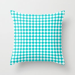 White and Cyan Diamonds Throw Pillow