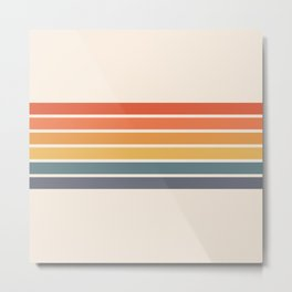Parama - Classic Colorful 70s Vintage Style Retro Racing Summer Stripes Metal Print