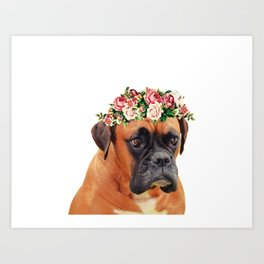 Boxer flower crown portrait Art Print