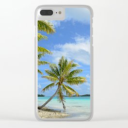 Tropical palm beach in the Pacific Clear iPhone Case