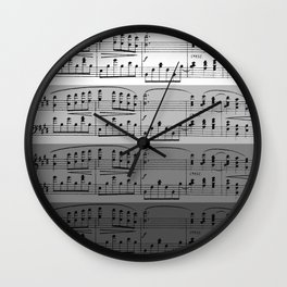 MUSIC IN GRADIENTS OF GREY - OMBRES OF GRAY - MUSICALS MONOCHROME #septcho19 Wall Clock
