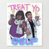 treat yo self Canvas Prints featuring Treat Yo Self by enerjax