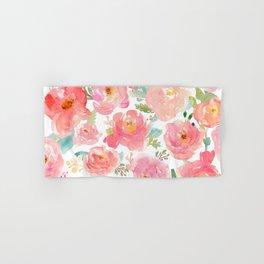 Pink Peonies Watercolor Pattern Hand & Bath Towel