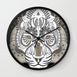 Zentangle Tiger 02  Wall Clock