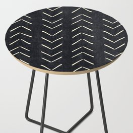 Mudcloth Big Arrows in Black and White Side Table