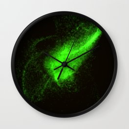 Abstract green glowing particles Wall Clock