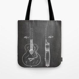 Accoustic Guitar Patent - Classical Guitar Art - Black Chalkboard Tote Bag