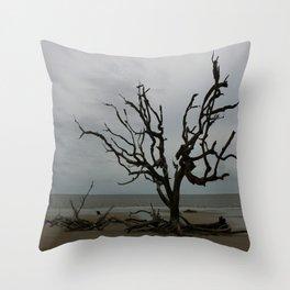 Ghost Tree Beach Throw Pillow