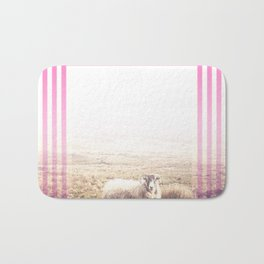 Sheep - pink graphic Bath Mat