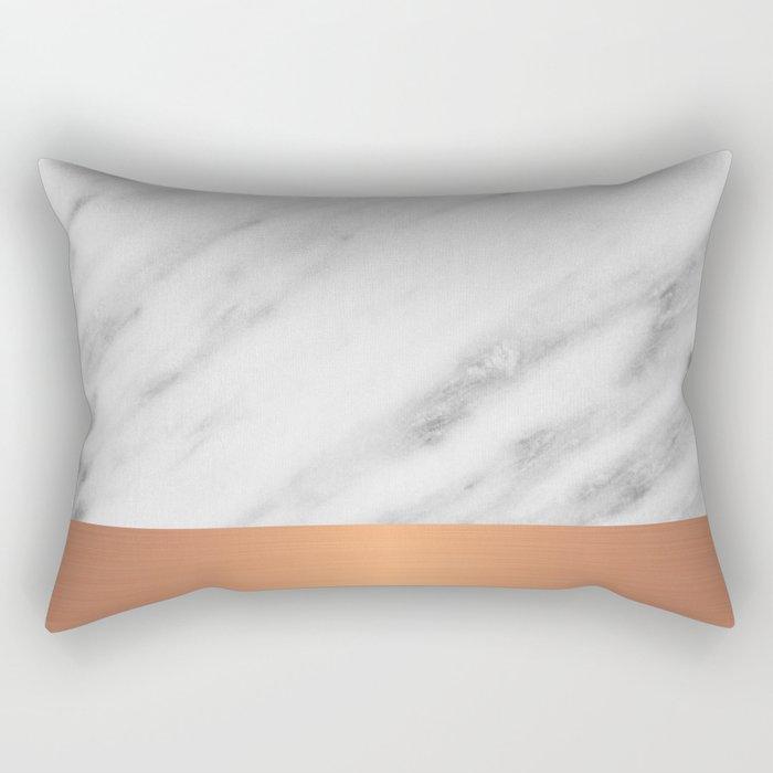Carrara Italian Marble Holiday Rose Gold Edition Rectangular Pillow