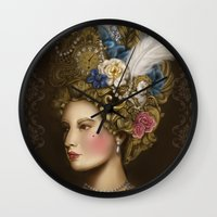 marie antoinette Wall Clocks featuring Marie Antoinette by Stephanie Sanchez