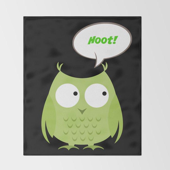 Owl Cartoon - Hoot Throw Blanket