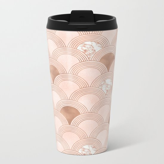 Elegant marble cotton candy fans in rose gold Metal Travel Mug
