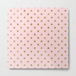 Pink & Gold Glitter Polka Dots Metal Print
