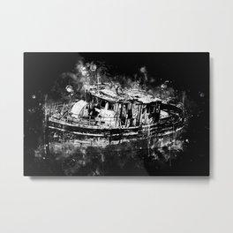 old ship boat wreck ws bw Metal Print