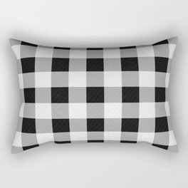 TARTAN GINGHAM CHECKERED GREY / BLACK Rectangular Pillow