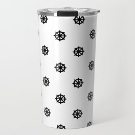 Dharma Wheel Pattern (Black and white) Travel Mug