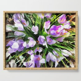 Soft Painterly Crocuses Serving Tray