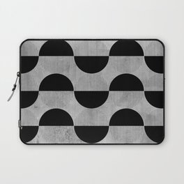 Black abstract 60s circles on concrete - Mix & Match with Simplicty of life Laptop Sleeve